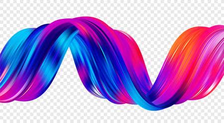 Modern twisted color flow liquid shape. Acrylic colorful paint sroke. Trendy art design