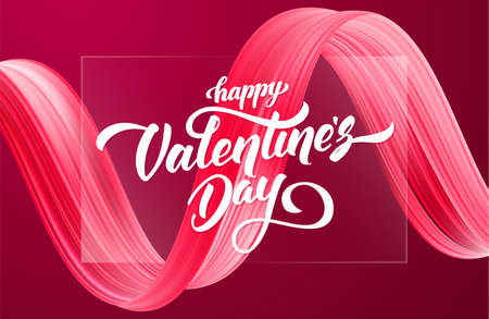 Happy Valentines Day. Greeting card with 3d red abstract brush stroke acrylic paint shape.