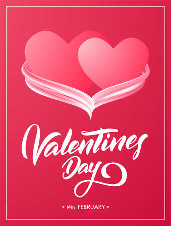 Red Greeting poster with hand lettering of Valentines Day and two hearts with acrylic paint stroke.