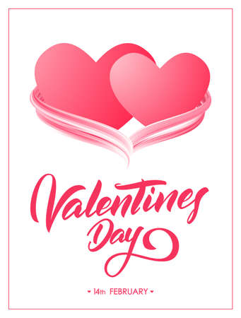 Greeting poster with hand lettering of Valentines Day and two hearts with acrylic paint stroke.