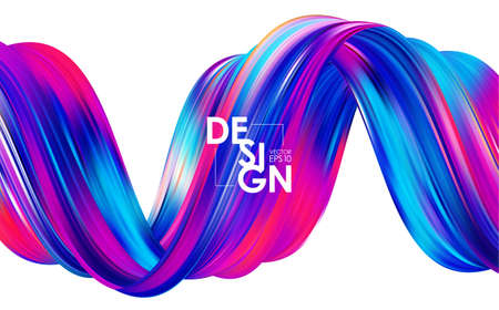 Modern colorful flow background. Abstract wave twisted liquid shape. Template for your design Иллюстрация