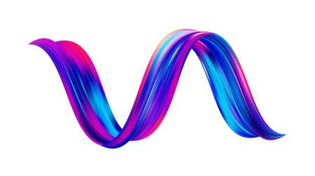 3d Twisted colorful flow liquid shape. Acrylic paint sroke. Modern design.