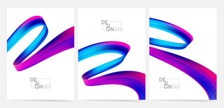 Set of three blank Modern poster with 3d twisted colorful flow liquid shape. Acrylic paint design