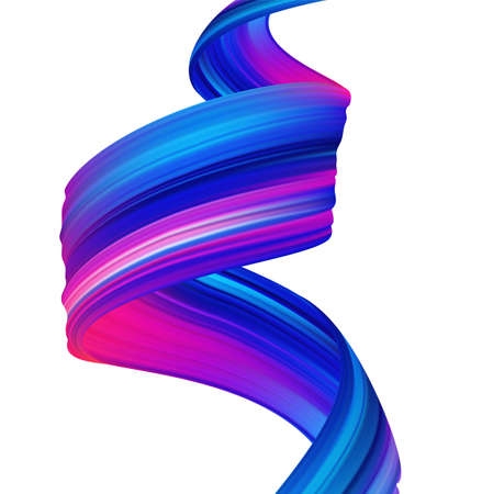 Modern colorful flow poster background. Abstract wavy twisted liquid shape. Paint brush stroke.