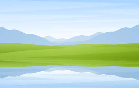 Vector illustration: Flat mountains Lake landscape
