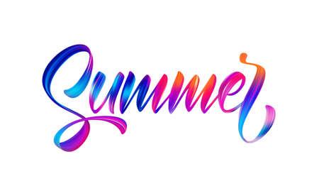 Vector illustration: Handwritten brush stroke colorful acrylic paint lettering of Summer