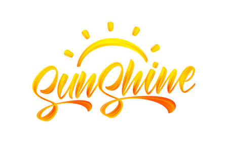 Handwritten brush stroke yellow acrylic paint lettering of Sunshine with Sun. Summer modern calligraphy Vettoriali