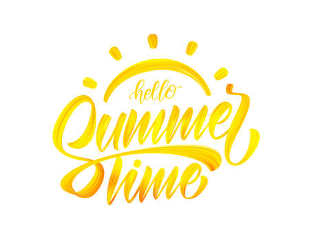 Vector illustration: Handwritten brus paint calligraphic lettring composition of Hello Summer Time with sun.