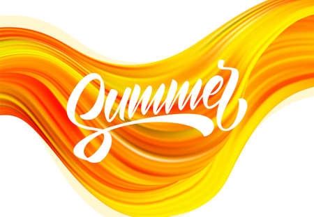 Abstract colorful flow backgroun with brush paint calligraphic lettring of Summer.