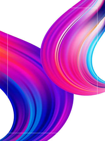Abstract Modern colorful flow poster. Wave paint liquid shape on white background