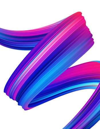 Vector illustration: Modern colorful flow poster background. Abstract wavy twisted liquid shape of ribbon. Paint brush stroke.  イラスト・ベクター素材