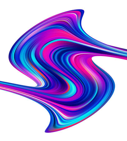 Vector illustration: Modern colorful flow poster template. Wave paint liquid shape on white background. Abstract design.
