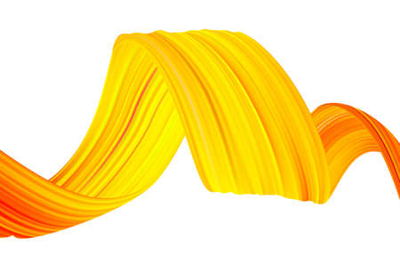 Vector illustration: Wavy liquid shape. Modern flow poster background with yellow brush paint stroke.