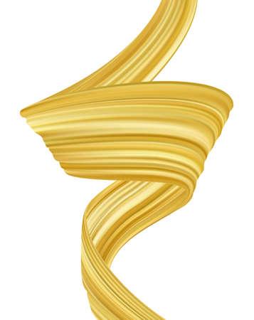 Vector illustration: Wavy gold liquid shape. Modern flow poster background with golden color brush paint stroke.