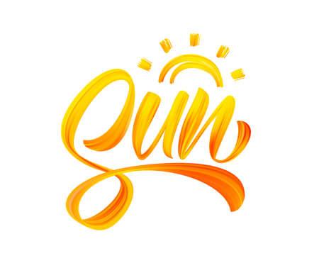 Handwritten brush stroke yellow acrylic paint lettering of Sun. Summer modern calligraphy