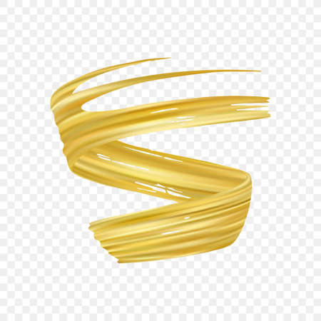 Vector illustration: 3d realistic gold brush stroke oil or acrylic paint. Wave Liquid shape. Trendy design