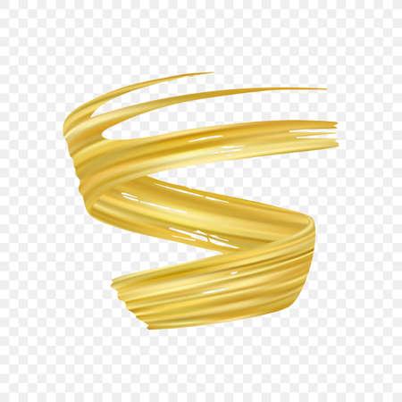 Vector illustration: 3d realistic gold brush stroke oil or acrylic paint. Wave Liquid shape. Trendy design Vektorové ilustrace