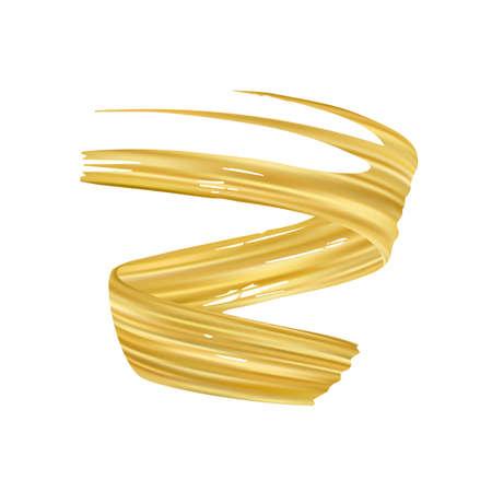 Vector illustration: 3d realistic golden color brush stroke oil or acrylic paint. Wave Liquid shape. Trendy design