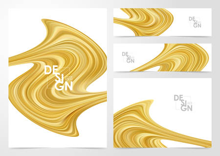 Vector illustration: Set of Modern golden color flow backgrounds. Abstract wave liquid shape. Template for your design
