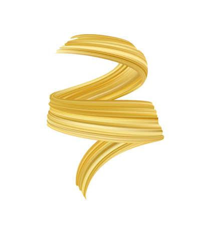 Illustrazione di vettore: olio o pittura acrilica del tratto di pennello dorato realistico 3d. Onda forma liquida. Design alla moda Vettoriali