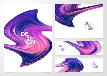 Vector illustration: Set of Modern color flow backgrounds. Abstract wave liquid shape. Design template  イラスト・ベクター素材