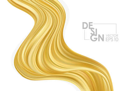 Vector illustration: Modern golden flow background. Abstract wave liquid shape. Template for your design  イラスト・ベクター素材