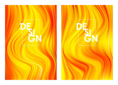 Vector illustration: Set of twoo Modern orange color flow posters. Wave yellow paint liquid shape. Abstract design.