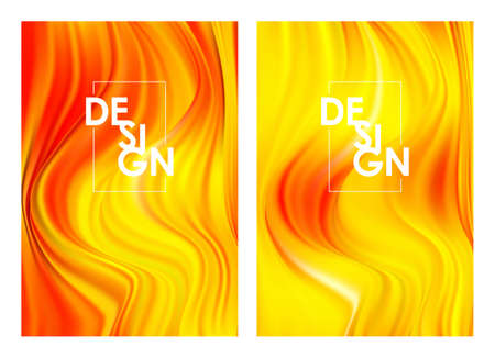Vector illustration: Set of twoo Modern orange color flow posters. Wave yellow paint liquid background. Abstract design.  イラスト・ベクター素材