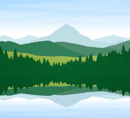 Vector illustration: Summer Mountain Lake landscape with pine forest and reflection.