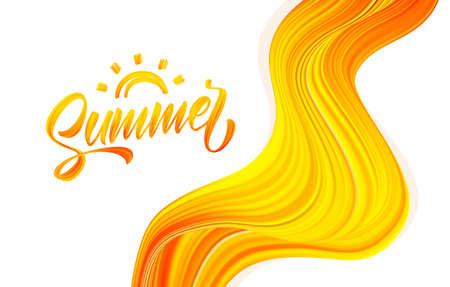 Vector illustration: Handwritten brush stroke acrylic paint lettering of Summer with Sun on abstract flow background. Illustration
