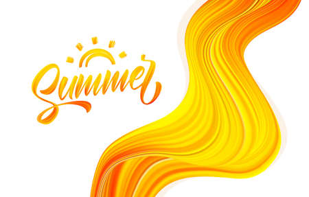 Vector illustration: Handwritten brush stroke acrylic paint lettering of Summer with Sun on abstract flow background. Çizim