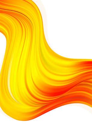 Vector illustration: Modern orange color flow poster. Wave yellow paint liquid shape. Abstract design.