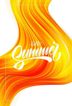 Abstract colorful flow poster backgroun with brush paint calligraphic lettring of Hello Summer. Illustration