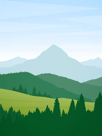 Vector illustration: Vertical Summer Mountains flat cartoon landscape with pine forest, hills and peak. Иллюстрация