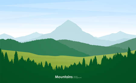 Vector illustration: Summer Mountains flat cartoon landscape with pine forest, hills and peak.