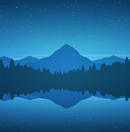 Vector illustration: Night Mountain Lake landscape with pine forest, reflection and stars on sky. 向量圖像