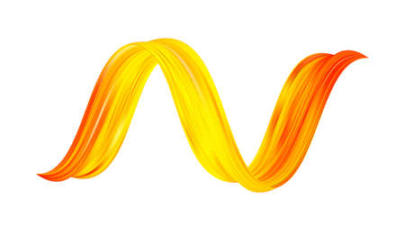 Vector illustration: 3d twisted colorful flow liquid shape. Acrylic yellow paint sroke. Modern design