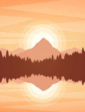 Illustrazione vettoriale: tramonto o alba paesaggio del lago di montagna con pineta e riflesso. Vettoriali