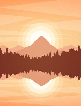 Vektorillustration: Sonnenuntergang- oder Sonnenaufgang-Bergseelandschaft mit Kiefernwald und Reflexion. Vektorgrafik