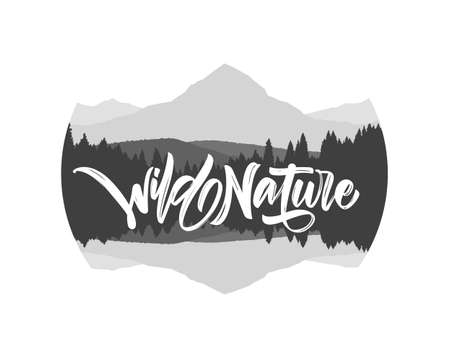 Vector illustration: Hand drawn type lettering of Wild Nature with silhouette of mountains lake landscape. Stok Fotoğraf - 118804062