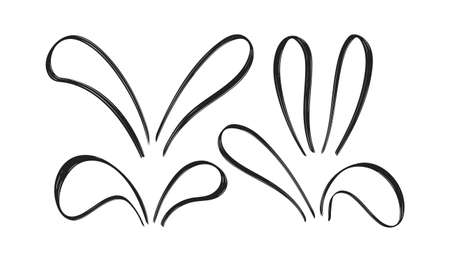 Set of Hand Drawn doodle bunny ears on white baclground. Sketch line Easter decoration.