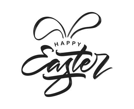 Handwritten calligraphic modern brush type lettering of Happy Easter with bunny ears.