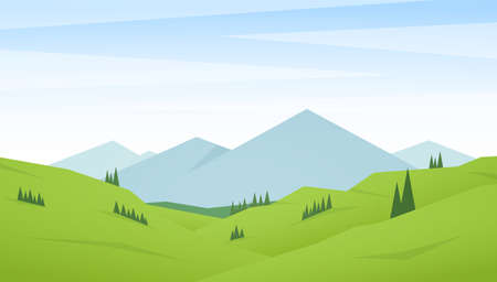 Vector illustration: Flat Summer Mountains landscape with green hills and pines.