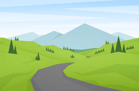 Cartoon flat summer mountains landscape with green hills, road and peaks. Illusztráció