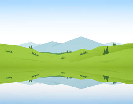 Vector illustration: Flat Summer Mountain Lake landscape with green hills and reflection.