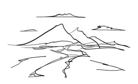 Hand drawn Mountains doodle sketch landscape with road or river and clouds