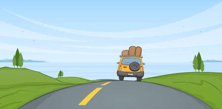 Ilustración vectorial: paisaje de verano de dibujos animados con viajes en coche por la carretera y el mar en el horizonte.