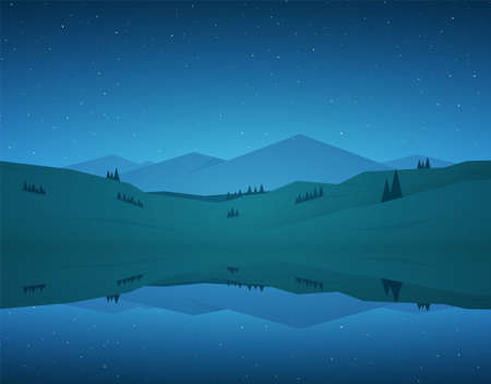 Vector illustration: Flat cartoon Night Mountain Lake landscape with reflection and stars on sky.
