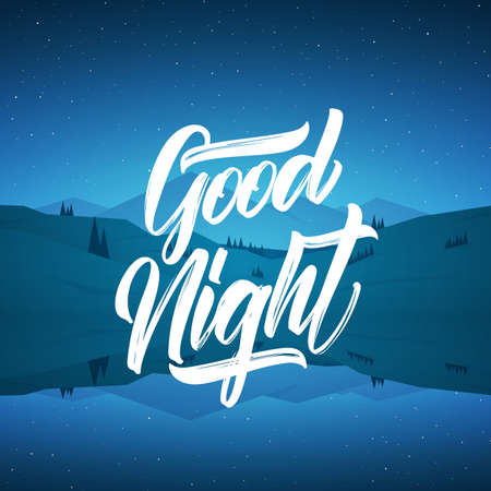 Vector illustration: Flat starry mountain lake landscape with type lettering of Good Night Фото со стока - 124109259