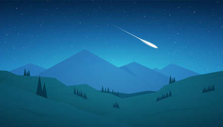 Flat cartoon Night Mountains landscape with hills, stars and meteor on the sky.
